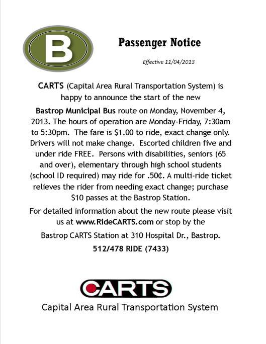 Bastrop Passenger Notices
